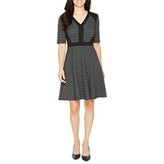 Danny & Nicole Elbow Sleeve Grid Fit & Flare Dress