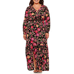 Weslee Rose Long Sleeve Floral Maxi Dress-Plus