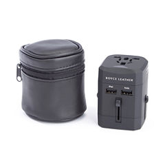 Royce Leather International Travel Adapter In Genuine Leather Carrying Case Electrical Adapter