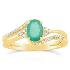 Womens 1/8 CT. T.W. Genuine Green Emerald 10K Gold Cocktail Ring