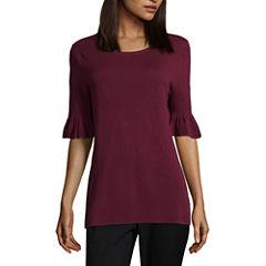 Liz Claiborne Signature Collection 3/4 Sleeve Scoop Neck Pullover Sweater