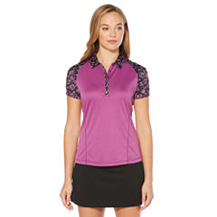 PGA TOUR Easy Care Short Sleeve Floral Mesh Polo Shirt