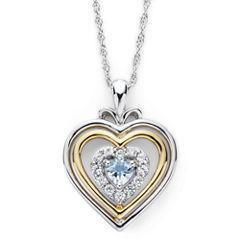 Aquamarine & Lab-Created White Sapphire Two-Tone Heart Pendant Necklace