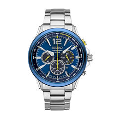 Seiko Mens Jimmie Johnson Special Edition Solar Chronograph Blue Dial Watch Boxed Set With Changeable Strap SSC505