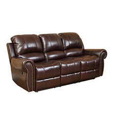 Sophia Leather Roll-Arm Sofa
