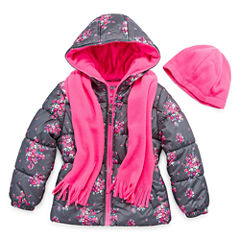 Pink Platinum Heavyweight Floral Puffer Jacket - Girls-Preschool