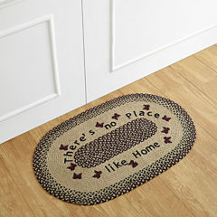 Better Trends Whimsical No Place Like Home Print Braided Oval Rug