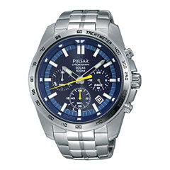 Pulsar Mens Silver Tone Bracelet Watch-Pz5001