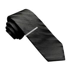 JF J. Ferrar® Variegated Stripe Tie with Tie Bar - Slim