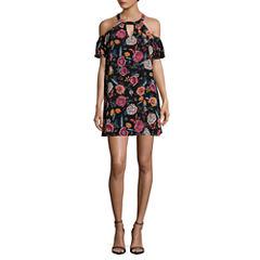 As U Wish Short Sleeve Floral A-Line Dress-Juniors
