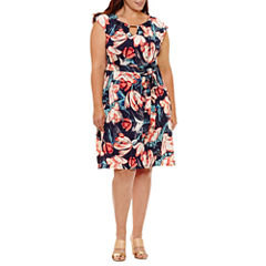 Luxology Sleeveless Floral Fit & Flare Dress-Plus