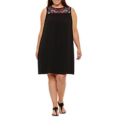 Luxology Sleeveless Embroidered Shift Dress-Plus