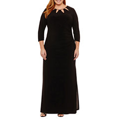 Scarlett 3/4 Sleeve Cut Outs Embellished Evening Gown-Plus