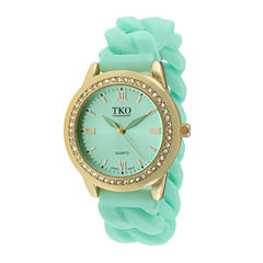 TKO ORLOGI Womens Crystal-Accent Chain-Link Green Silicone Strap Stretch Watch