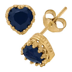 Lab Created Blue Sapphire 14K Gold Over Silver Earrings