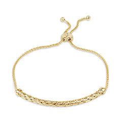 Diamonart Womens Cubic Zirconia 18K Gold Over Silver Bolo Bracelet