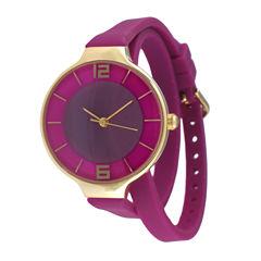 TKO ORLOGI Womens Purple Silicone Strap Wrap Watch