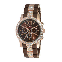 TKO ORLOGI Womens Crystal-Accent Brown Dial Multifunction-Look Bracelet Watch