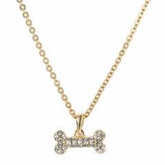Pet Friends Crystal Gold-Tone Bone Pendant Necklace