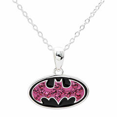 DC Comics® Batman Sterling Silver Pink Crystal Pendant Necklace