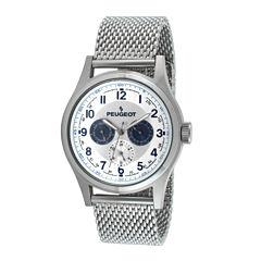 Peugeot® Mens Stainless Steel Mesh Watch 1049S
