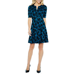 Danny & Nicole Elbow Sleeve Floral Fit & Flare Dress