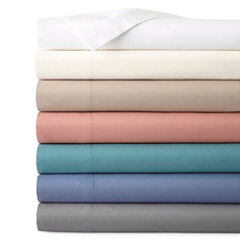 JCPenney Home™ 300tc 100% Cotton Ultra Soft Solid Sheet Set and Pillowcases