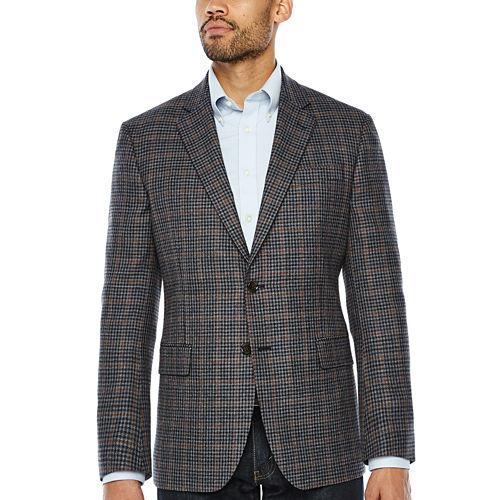 Stafford Merino Wool Sportcoat Blue Gray Rust Windowpane - Classic