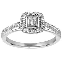 I Said Yes Womens 1/5 CT. T.W. Genuine Baguette White Diamond Platinaire Engagement Ring