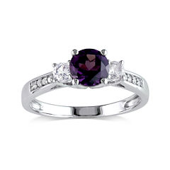 Lab-Created Alexandrite, White Sapphire and Diamond-Accent 10K White Gold Ring