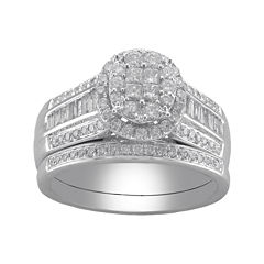 Cherished Hearts™ 1 CT. T.W. Certified Diamond Princess-Cut and Round Bridal Ring Set