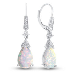 Lab-Created Opal & Lab-Created White Sapphire Sterling Silver Drop Earrings