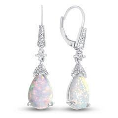 Lab-Created Opal Sterling Silver Drop Earrings