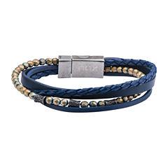 Mens Stainless Steel Beaded Bracelet
