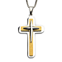 Inox® Jewelry Mens Stainless Steel & Wood 3-Layer Cross Pendant Necklace