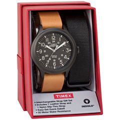 Timex Expedition Scout 43 Box Set Mens Brown 2-pc. Watch Boxed Set-Twg016200jt