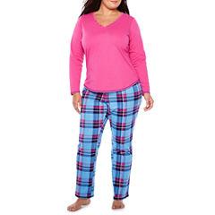Sleep Chic Long Sleeve Pant Pajama Set - Plus