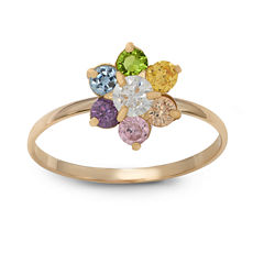 Girls 1/5 CT. T.W. Lab Created Multi Color Cubic Zirconia 10K Gold Delicate Ring