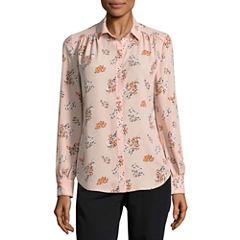 Worthington Long Sleeve Button Front Blouse