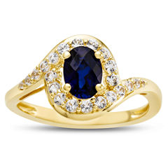 Womens Lab Created Blue Sapphire Gold Over Silver Cocktail Ring