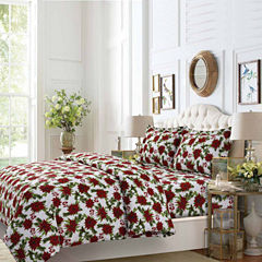 Tribeca Living Christmas Joy Flannel 3-pc. Duvet Cover Set