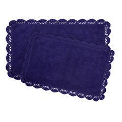 Laura Ashley Crochet Cotton 2-Pc Bath Rug Set 2-pc. Reversible Bath Rug Set