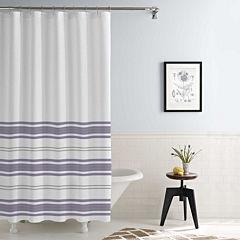 Pacific Coast Textiles Waterproof Racer Stripe Printed Shower Curtain Set
