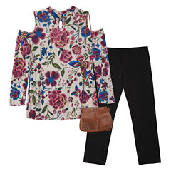 by&by girl Floral Cold Shoulder Long Sleeve Legging Set with Purse - Girls' 7-16