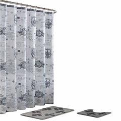Fleur De Lis 15-Pc Shower Curtain Set