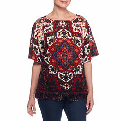 Lark Lane Fall Festival Elbow Sleeve Boat Neck Medallion Pullover Sweater