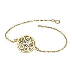 Personalized 10K Gold Over Sterling Silver Monogram Bracelet