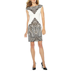 London Times Short Sleeve Paisley Sheath Dress-Petites