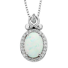 Enchanted By Disney Womens 1/10 CT. T.W. Multi Color Opal Sterling Silver Pendant Necklace