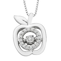 Womens 1/10 CT. T.W. White Sterling Silver Pendant Necklace